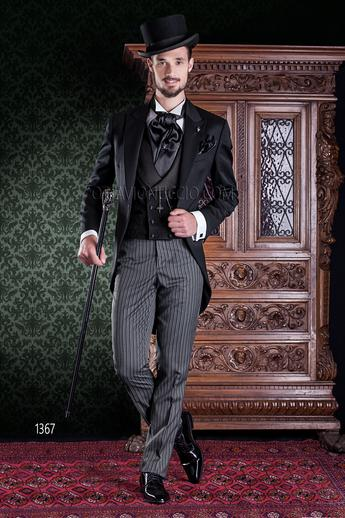 ONGala 1367 - Black long tail Italian groom tuxedo and striped pants