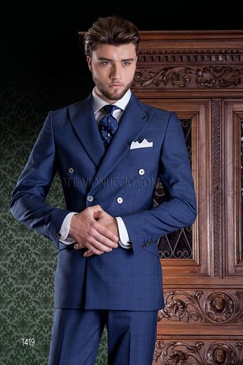 ONGala 1419 - Blue Prince of Wales peak lapel double breasted suit