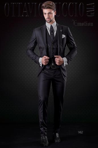 Anzug mit weste herren schwarz