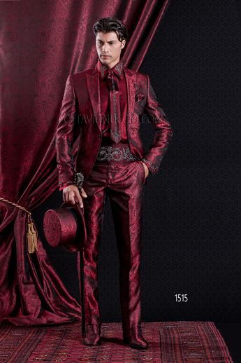 ONGala 1515 - Red brocade peak lapel luxury wedding suit