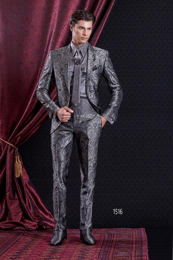 ONGala 1516 - Brocade gray peak lapel italian luxury tuxedo