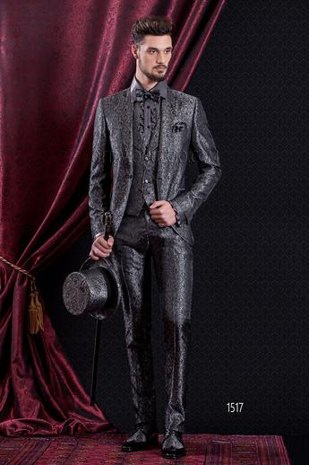 ONGala 1517 - Brocade gray peak lapel 3 piece luxury groom suit