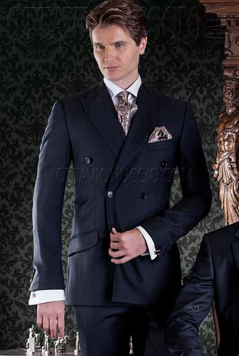 ONGala 1523 - Midnight blue peak lapel double breasted suit