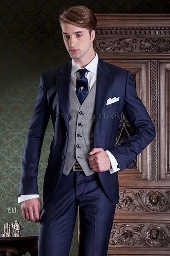 ONGala 1561 - Midnight blue notch lapel Prince of Wales suit