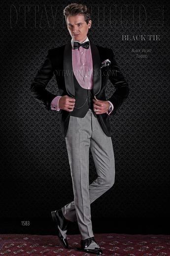 ONGala 1583 - Black and gray shawl lapel velvet groom suit