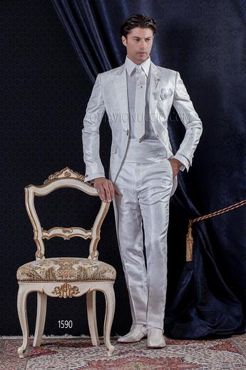 ONGala 1590 - White brocade peak lapel Italian luxury wedding tuxedo