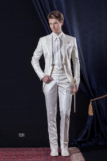 ONGala 1591 - White brocade peak lapel luxury Italian tuxedo