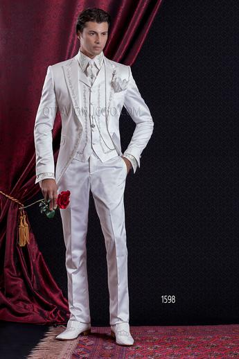 ONGala 1598 - White brocade peak lapel Italian wedding tuxedo