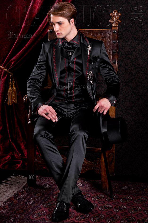 ONGala 1601 - Gotischen Gehrock Bräutigam Anzug schwarz mit roter ...
