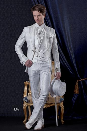 ONGala 1605 - White brocade peak lapel Italian luxury tuxedo