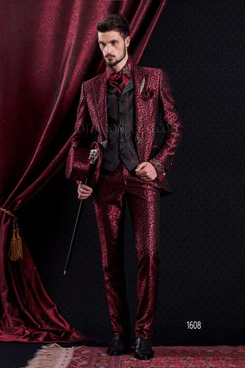 ONGala 1608 - Brocade red peak lapel Italian luxury suit