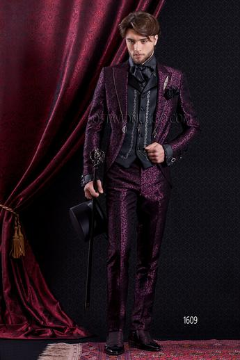 ONGala 1609 - Brocade purple peak lapel Italian luxury suit