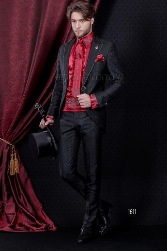 ONGala 1611 - Brocade black peak lapel italian luxury suit
