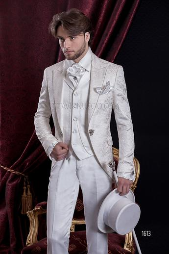 ONGala 1613 - White brocade peak lapel luxury wedding suit