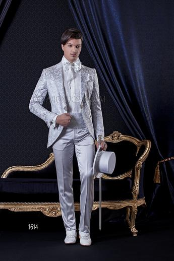 ONGala 1614 - White and silver brocade peak lapel wedding tuxedo