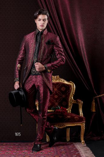 ONGala 1615 - Brocade red mandarin collar baroque wedding suit