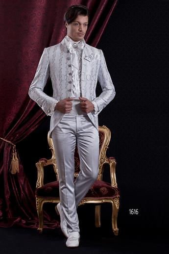 ONGala 1616 - Pearl gray brocade mandarin collar luxury tuxedo