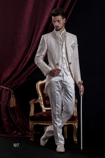 ONGala 1617 - Ivory and gold brocade mandarin collar wedding suit