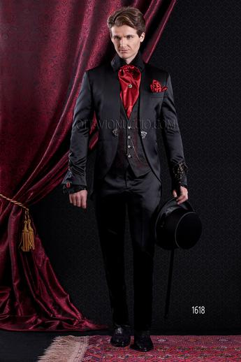 ONGala 1618 - Shiny black and red mandarin collar italian luxury suit