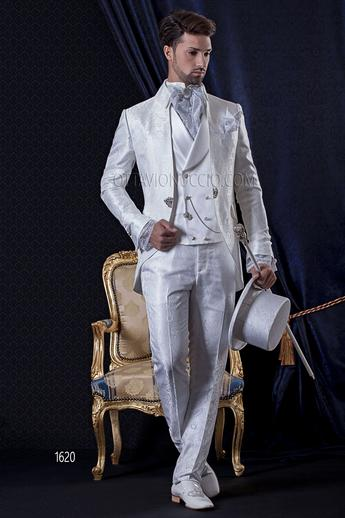 ONGala 1620 - White and silver mandarin collar Italian tuxedo