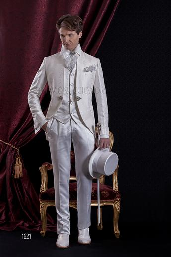 ONGala 1621 - White brocade mandarin collar Italian wedding suit