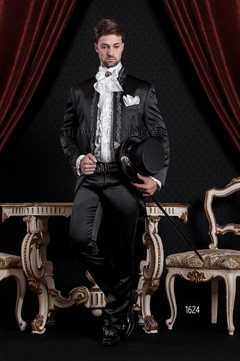 ONGala 1624 - Slim shiny black mandarin collar luxury tuxedo