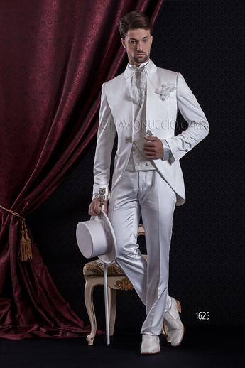 ONGala 1625 - Shiny white mandarin collar smooth wedding tuxedo