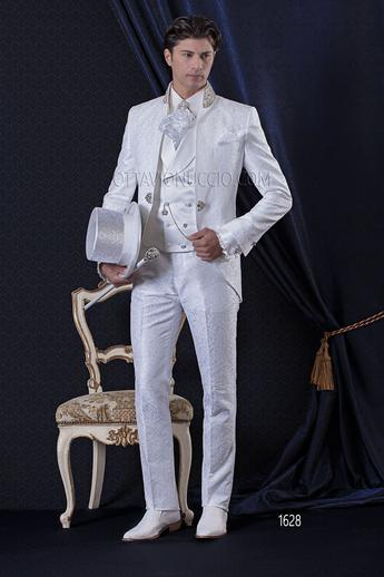 ONGala 1628 - White brocade mandarin collar luxury wedding tuxedo