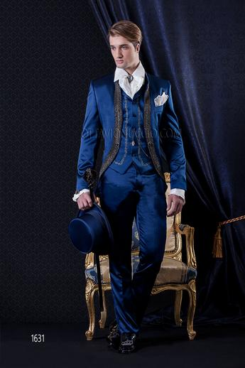 ONGala 1631 - Royal blue mandarin collar luxury satin tuxedo