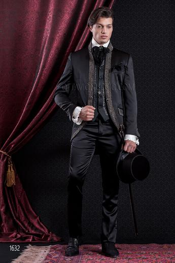 ONGala 1632 - Luxury black mandarin collar italian baroque suit