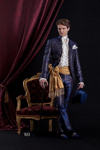 ONGala 1633 - Blue and gold luxury brocade italian tuxedo