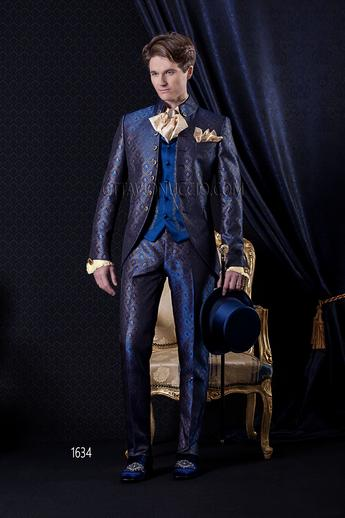 ONGala 1634 - Blue and gold luxury brocade 3 piece italian tuxedo