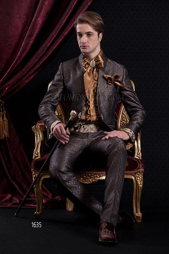 ONGala 1635 - Dark gray and gold brocade mandarin collar tuxedo