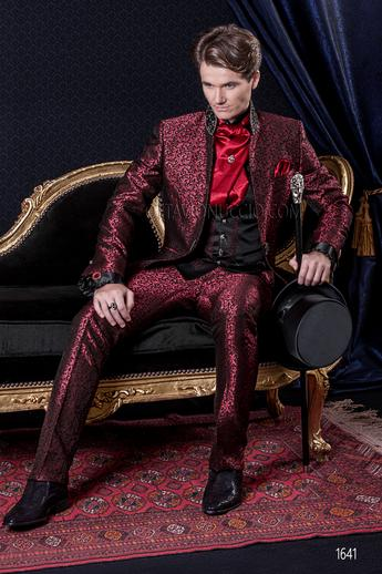 ONGala 1641 - Brocade red mandarin collar luxury wedding suit