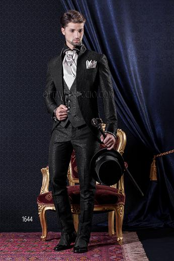 ONGala 1644 - Brocade black mandarin collar italian luxury suit