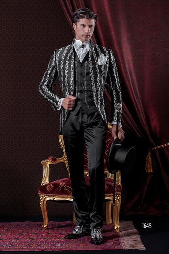ONGala 1645 - Black and silver mandarin collar italian luxury tuxedo