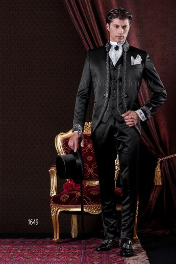 ONGala 1649 - Shiny black mandarin collar baroque groom suit