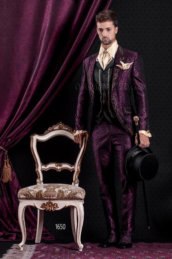 ONGala 1650 - Brocade purple and gold peak lapel Italian luxury tuxedo