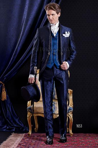 ONGala 1653 - Royal blue mandarin collar brocade groom suit