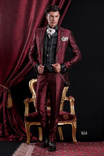 ONGala 1654 - Luxury brocade red peak lapel groom suit