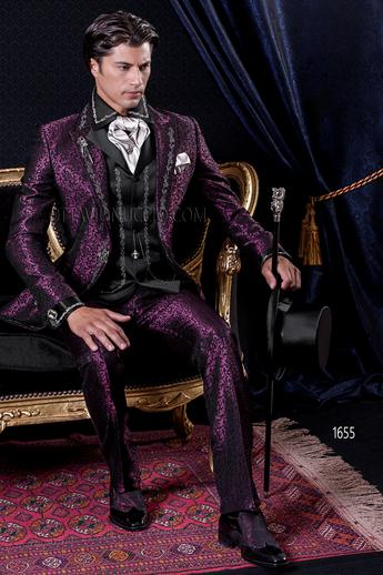 ONGala 1655 - Brocade purple peak lapel Italian luxury tuxedo