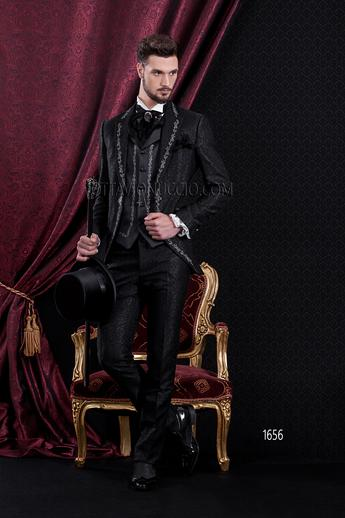 ONGala 1656 - Brocade black peak lapel italian luxury tuxedo