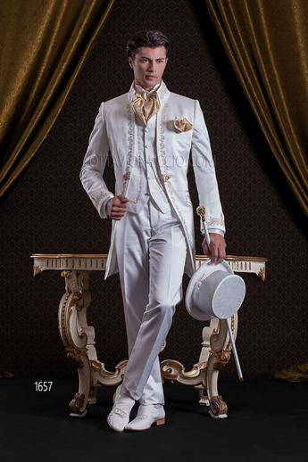 ONGala 1657 - Shiny white mandarin collar luxury frock coat