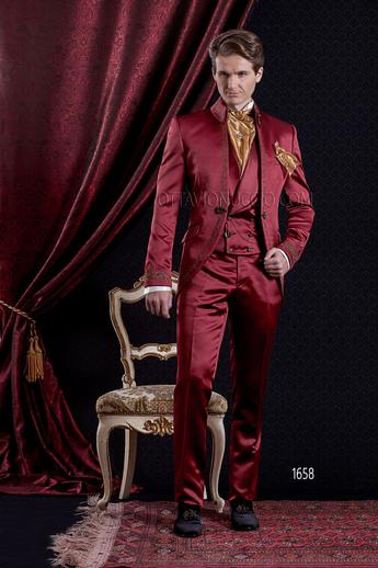 ONGala 1658 - Shiny red mandarin collar luxury Italian tuxedo