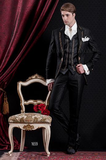 ONGala 1659 - Luxury brocade black peak lapel baroque tuxedo