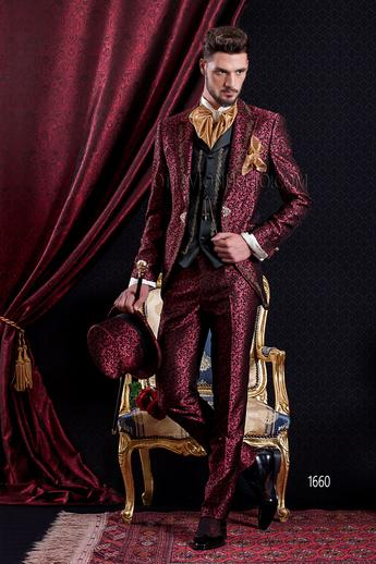 ONGala 1660 - Red and gold brocade peak lapel Italian tuxedo