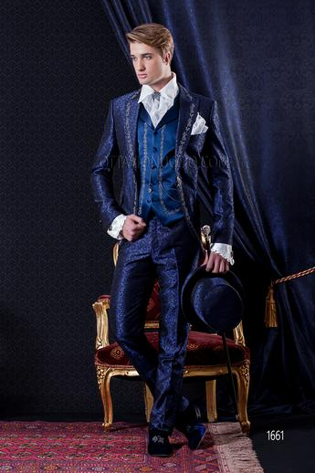 ONGala 1661 - Blue peak lapel embroidered brocade groom suit