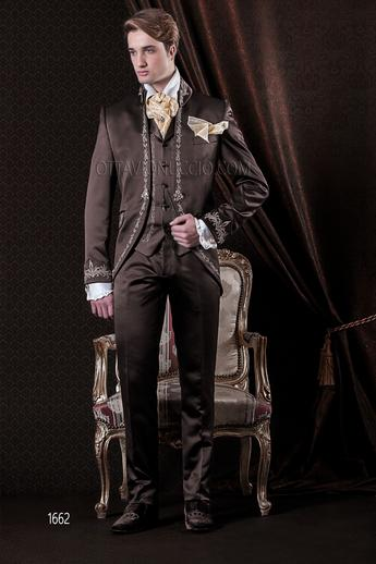 ONGala 1662 - Shiny brown mandarin collar Italian groom suit