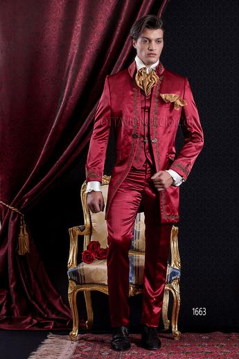 ONGala 1663 - Shiny red mandarin collar luxury frock coat