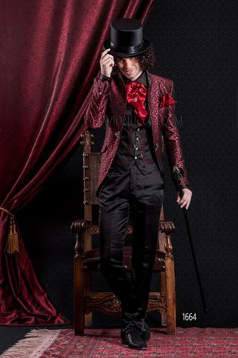 ONGala 1664 - Brocade red mandarin collar Italian luxury suit